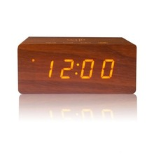 Hot selling speaker bluetooth wireless wood speaker bluetooth alarm clock with phone charger
