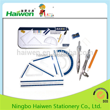 Metal tool geometry math set mathematical drawing instruments
