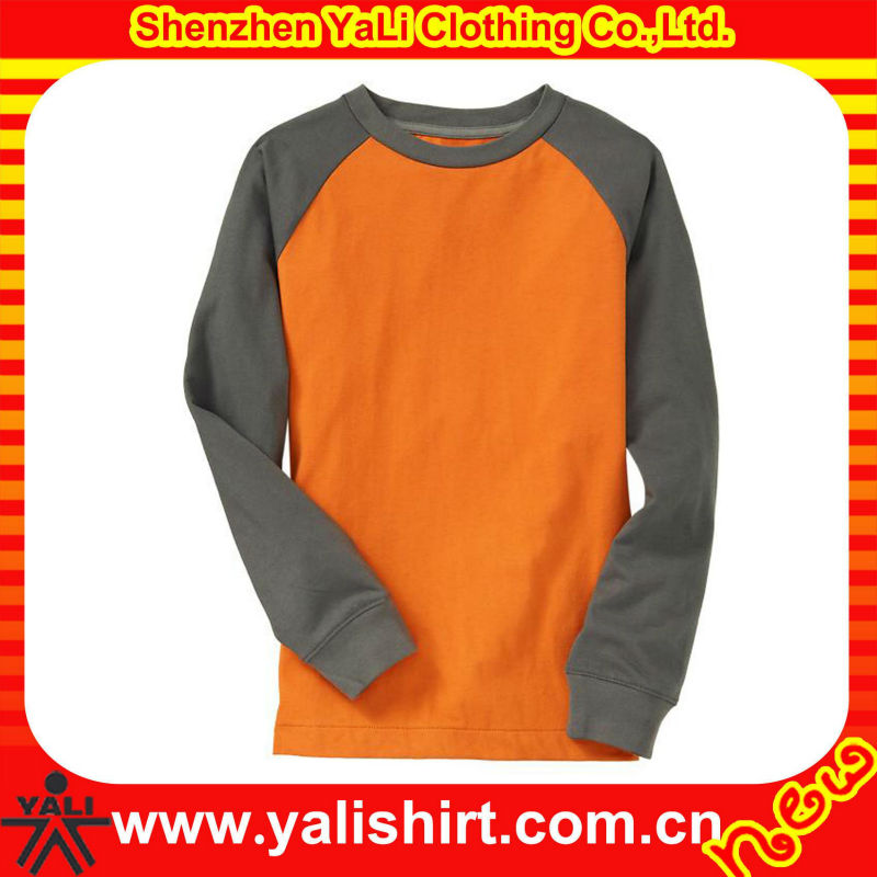 2013 OEM popular color combination o-neck cotton plain long sleeve loose t shirt for women