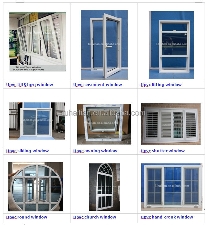 UPVC window blind /glass shutter window with fixed and casement