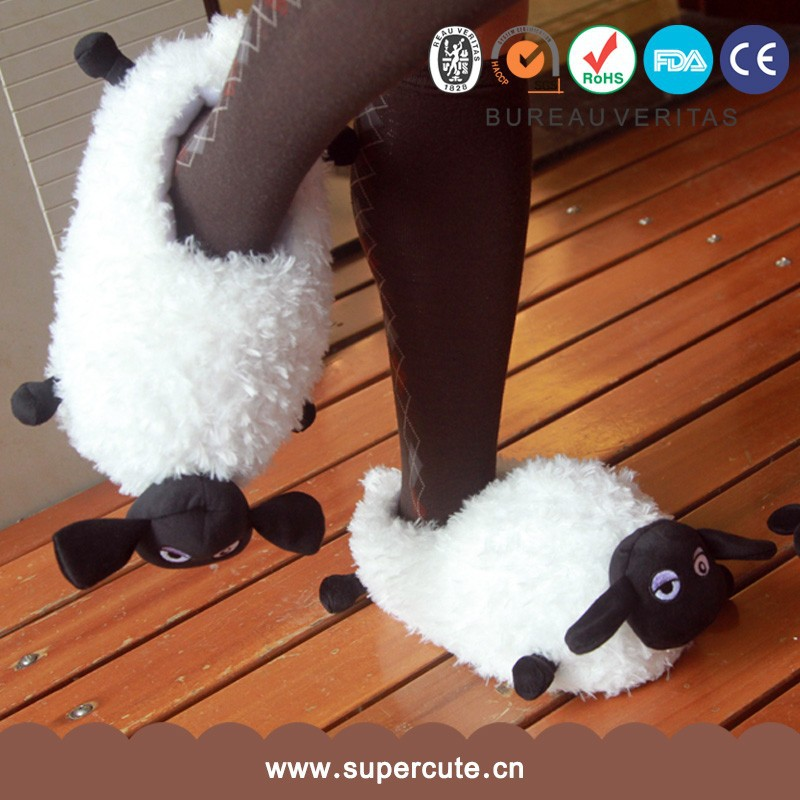 New arrived cute lamp sheep shape white parent-child plush funny <strong>slippers</strong>