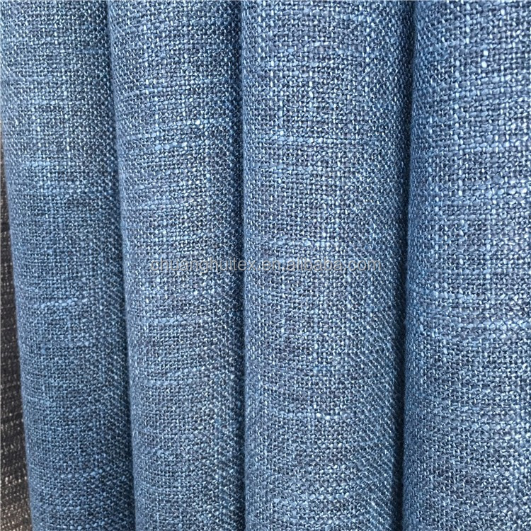 wide width cationic two color tones linen look blackout fabric for curtain