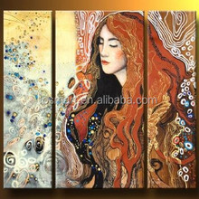 Chinese pretty beautiful long hair women close her eyes 100%handmade classic decoration oil painting in canvas