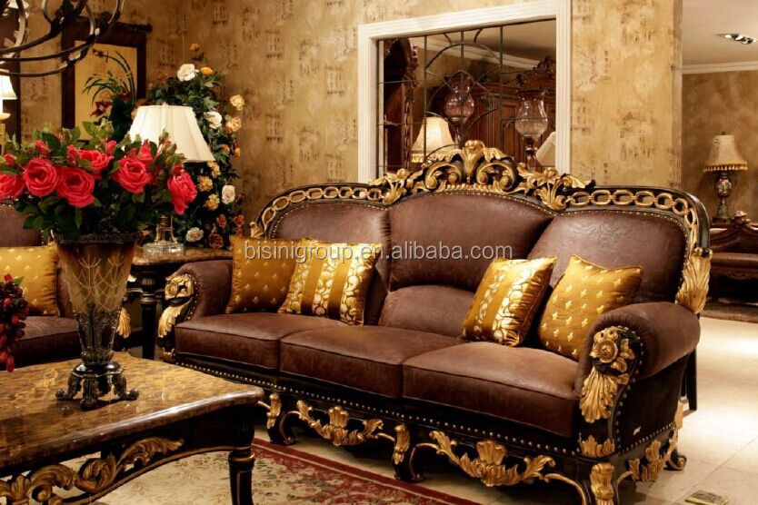 New Arrival American Neo Classical Style Gilt Wood Carving Sofa made of Genuine Leather BF11-11303f