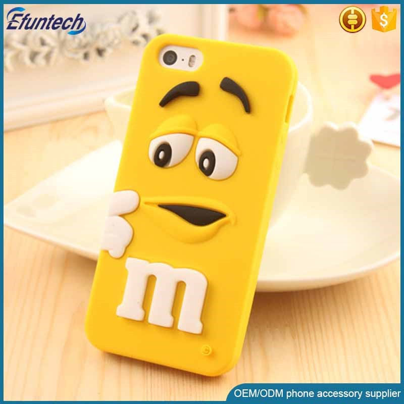 2016 New product M and M chocolate bean style silicone phone case for iphone 6s