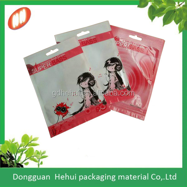wholesale color plastic bag for earphone with one side clear
