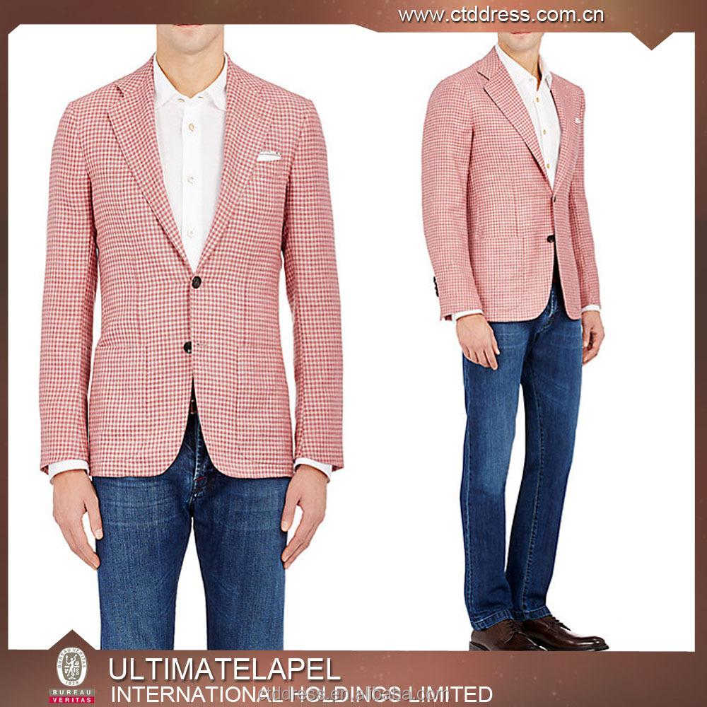 Super fashion 100% wool suit pink checks fabrics korean suit for men