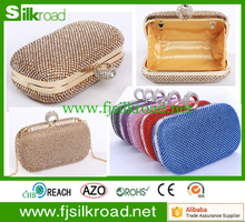 Custom lady mini elegant bling cosmetic clutch bag with golden zipper closure for christmas evening