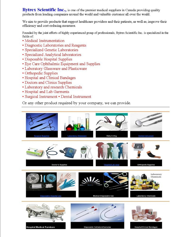 Hospital supplies, Dental and surgical Instruments, Lab reagents, Laboratory Glassware and Plasticware, Medical Instrumentation
