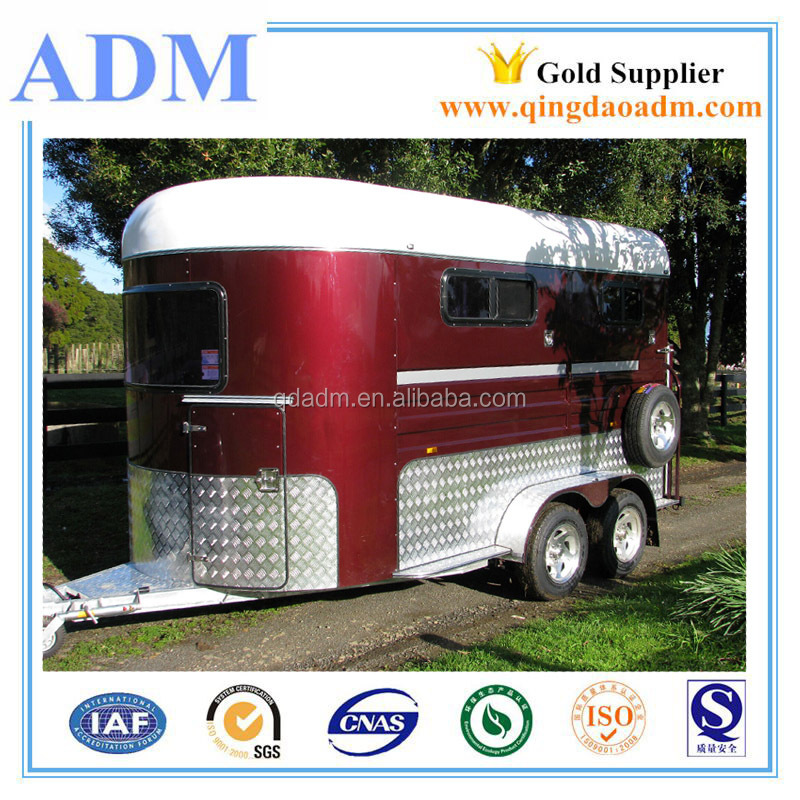 2015 hot sale 2 horse float trailer with straight load , China brand