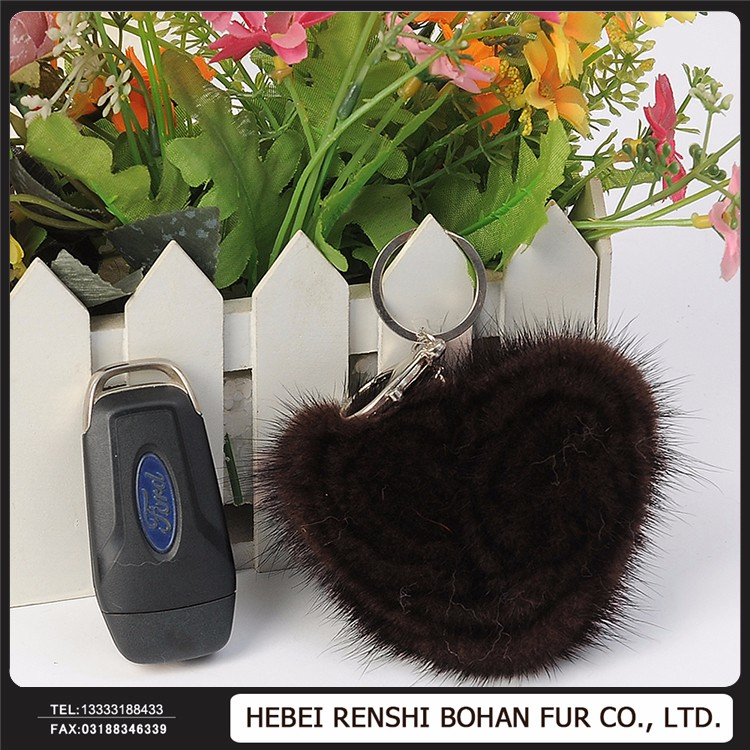 Short Solid Color Mink Fur Rehinstone Tail Ring Keychain, Bag Pendants Accessory Handmade Keyrings