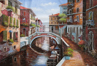 Professional Artist Handmade Abstract Canvas Venice Landscape Oil Painting