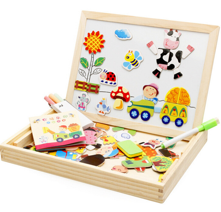 FQ brand hot sell early baby children wooden educational toy education kids magnetic jigsaw puzzle