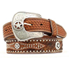 Cowboy Hair-On-Hide Basketweave Overlay Star Concho Men Rhinestone Western Belts