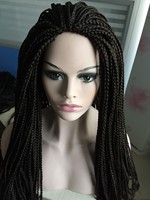 Fashionable cheap braided twist wigs for black women micro braided lace front wig