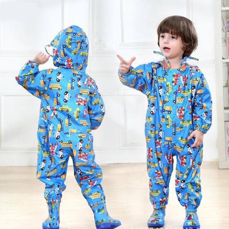 Kids Boys Girls Rain Jacket Cartoon Dinosaur Raincoat Lightweight Rainwear S-2XL