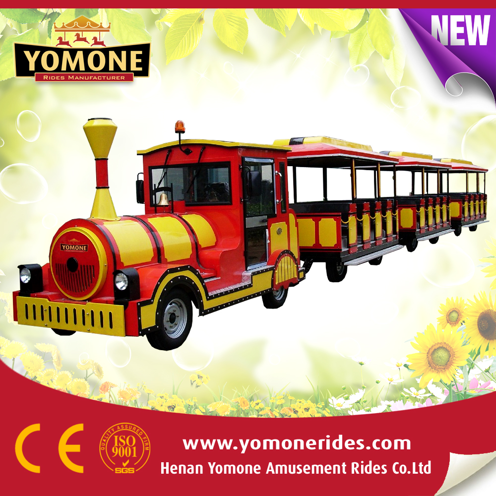 Hot summer amusement park tourist trackless train, diesel road train for sale