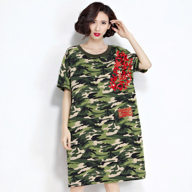 Summer new design women's clothing big code round collar, thin camouflage dress length skirt and short sleeved skirt