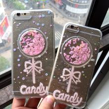 Transparent pink candy lollipop phone case for iphone 7plus,glitter powder drop glue phone case for iphone 6plus