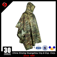 Military Camouflage Rain Poncho Light Weight PVC military Ponchos , Army Raincoat 100% PVC Waterproof CP muticam