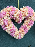 Artificial heart shape rose wreath
