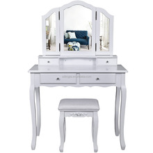 Wooden Mirrored Dressing Makeup Table Mirror With Stool Set