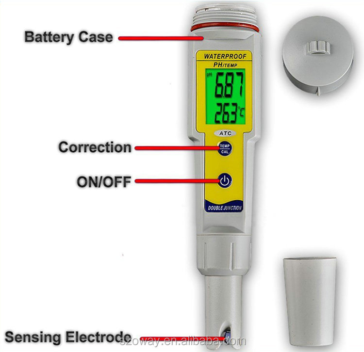 ATC backlight waterproof IP65 PH TEMP correction ph meter