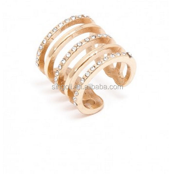 PAVE LADDER CRYSTAL RING SET Wedding CRYSTAL Rings GOLD RING AS WIFE GIFT ,Lily
