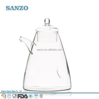 Sanzo Wholesale Handmade Custom Clear Borosilicate Glass Tea Pot with Lids