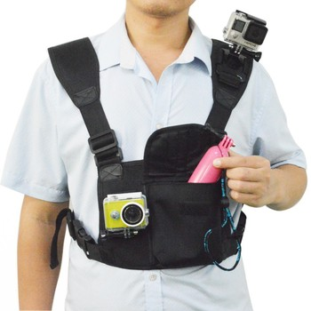 Advanced Chest Mount Bag, can Mount 2 camera as picture, for Go Pro Heros 4/3+/3/2/1 and other sport cameras & SO NY, Xiaoyi Cam