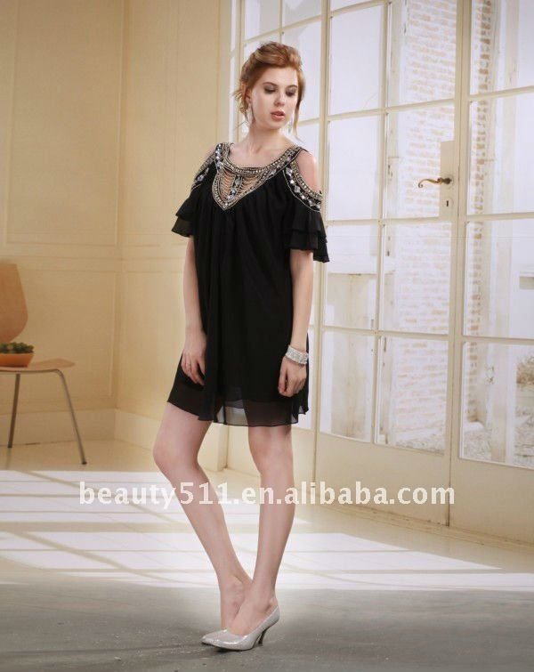 Astergarden New Design Emma Roberts Style Beaded Black Chiffon Party Dress AS032-6