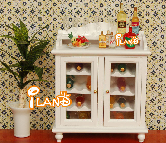Dollhouse Living Room Miniature Furniture wooden wine cabinet in white colour WL062