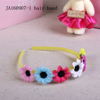 Fancy western kids fake flower plastic hair band wholesale