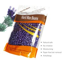 Body Hair Removal Hard Wax Beans Solid Depilatory Wax Natural Hot Film 10.5 Ounces/bag Lavender with 10pcs Wooden Spatula