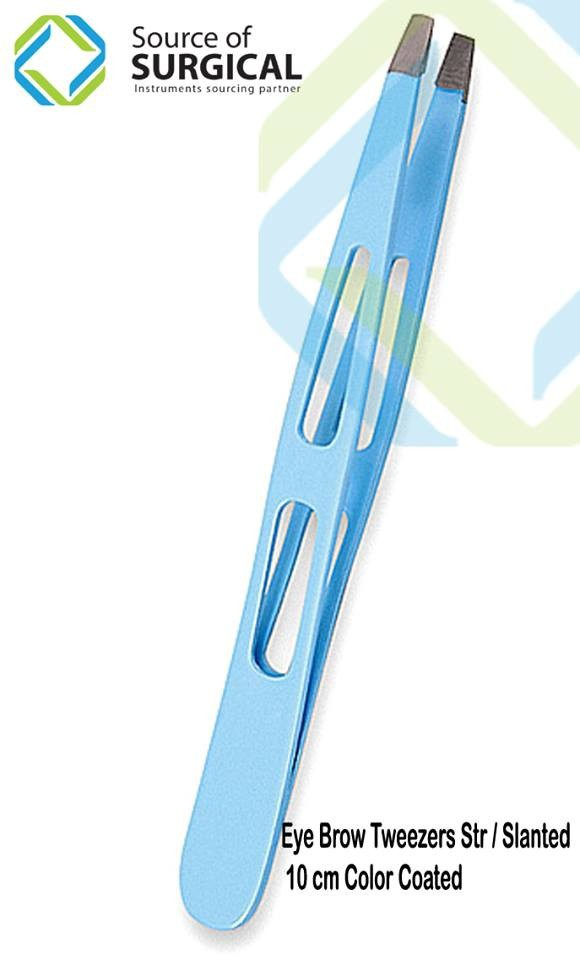 high quality Blue coated stainless steel tweezer/promotion gift eyesbrow tweezer