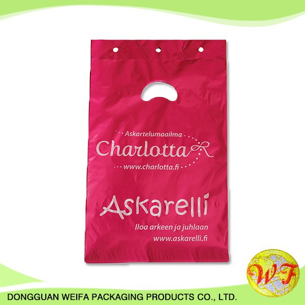 Weifa Packaging & Printing Ldpe Plastic Die Cut Patch Packing Bag With Handle