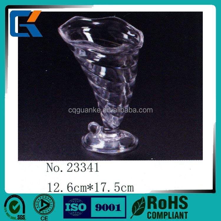 Creative whirlwind shaped acrylic ice cream glass with food grade plastic