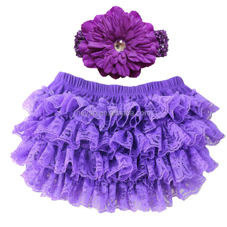 Baby Girls Ruffle Lace Bloomer and Headband Set