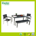 Brushed aluminum wood plastic composite dining table and chair set,garden outdoor furniture,patio furniture