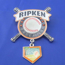 personalized metal made crystal baseball trading pins with dangler