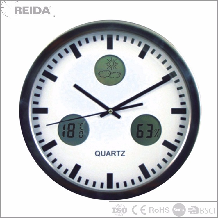 Custom weather station round analog wall metal quartz rhythm clock