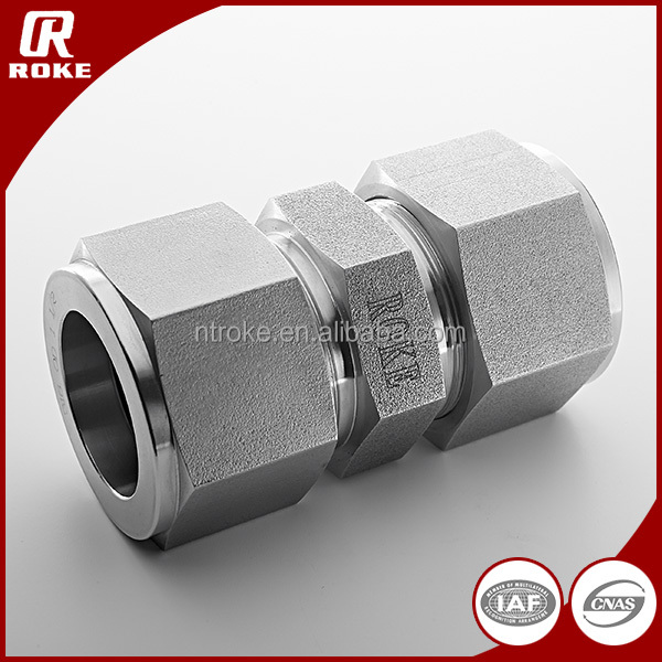 Straight Double Ferrule Male Threaded Tube Fitting Union Connector