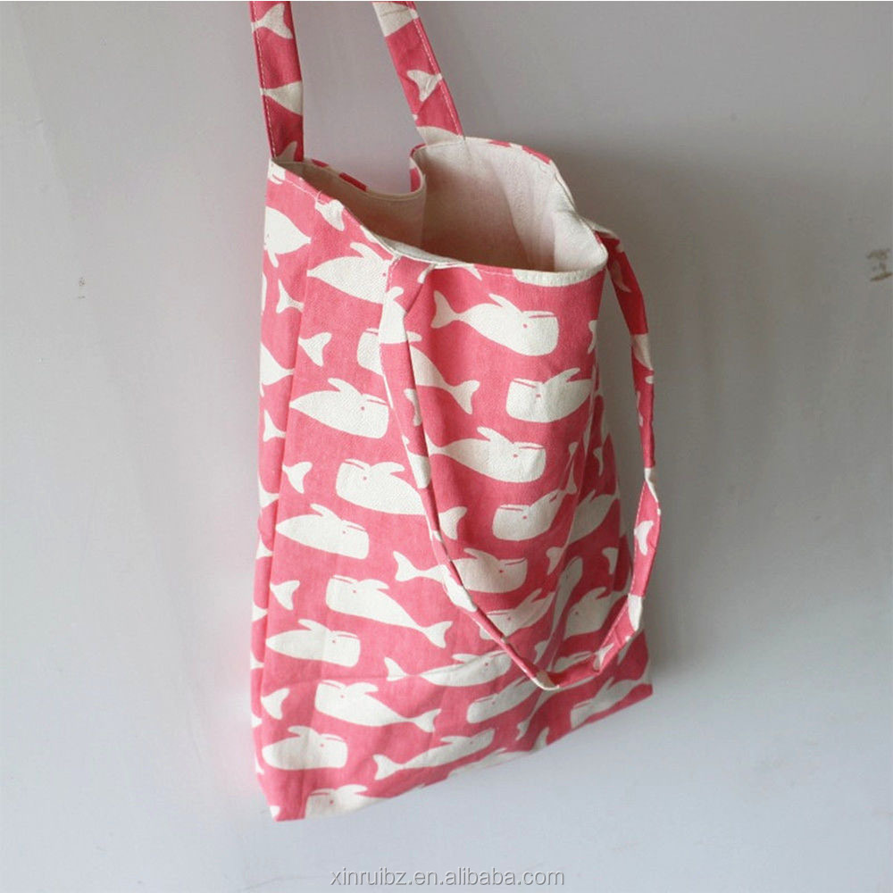 2016 custom design printing double handles pretty pink shopping bag