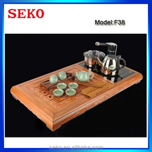 Kongfu Tea Tea Elegant Multi-Functional Sandal Wood Tea Tray with Double Stove Electric Cooker and Water Pump