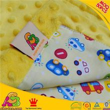 2016 hot selling fashion design SGS checked high quality 100% polyester baby blanket with cotton