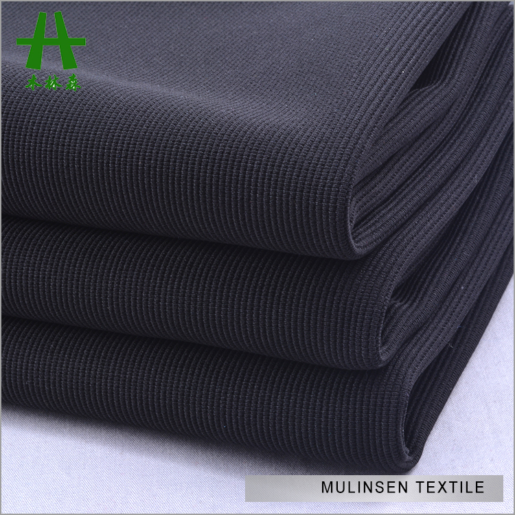 Plain Dyed Black Polyester Spandex Knitted Ottoman Fabric,Paper Printed Stretch Ottoman Rib Knit Fabric For Garments Trousers