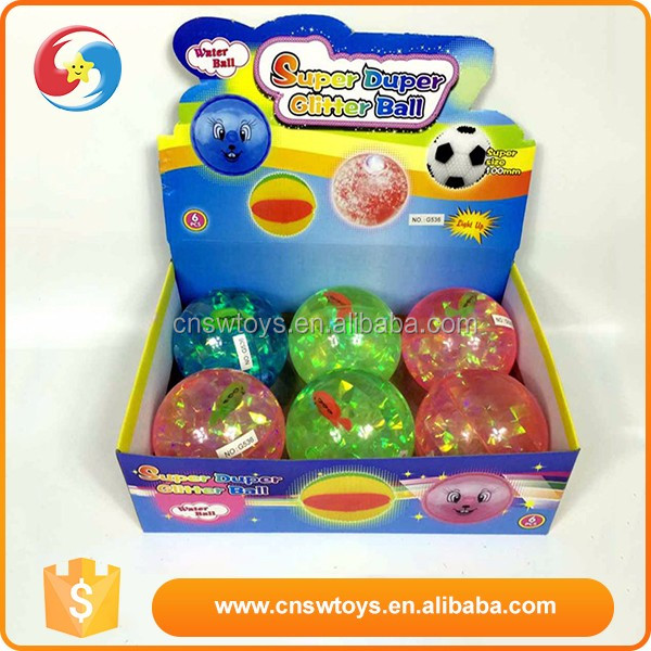 Promotional custom rubber 10cm muticolor flashing bounce ball