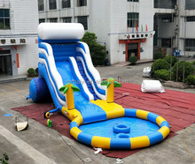 2018 Super quality large commercial inflatable water slide with swimming pool
