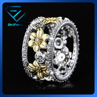 2015 New Arrival Gold Floral Wedding Band CZ Ring For Christmas Gift