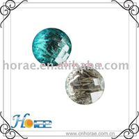 silver paper crystal button,round shape with different color
